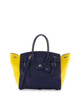 Ralph Lauren Soft Ricky 33 Medium Bicolor Satchel Bag, Blue/Yellow