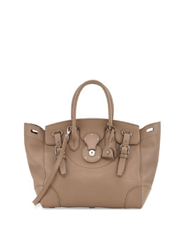 Ralph Lauren Soft Ricky 33 Medium Soft Calfskin Satchel Bag , Taupe