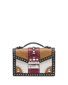 Prada Tricolor Studded Saffiano Sound Bag, Brown/Red (Caramel+Cerise)