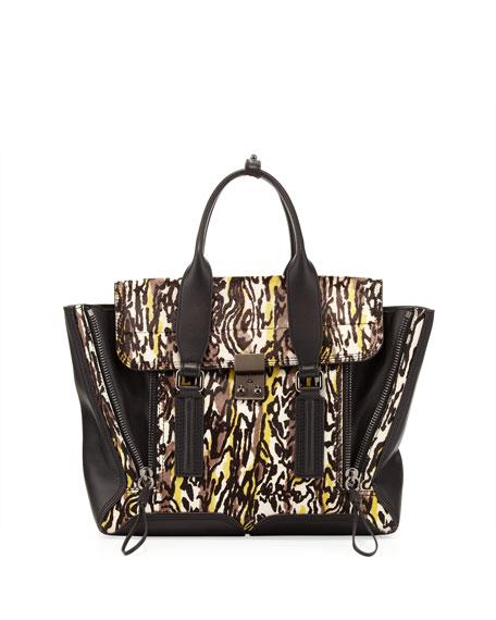 Pashli Medium Abstract-Print Zip Satchel Bag, Gray/Lime/Black