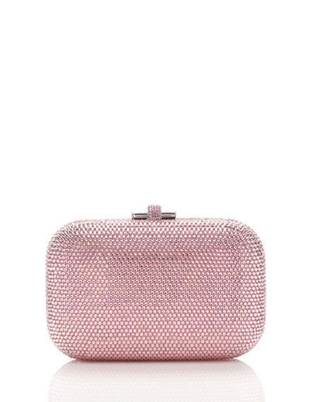 Crystal Slide-Lock Clutch Bag, Light Rose