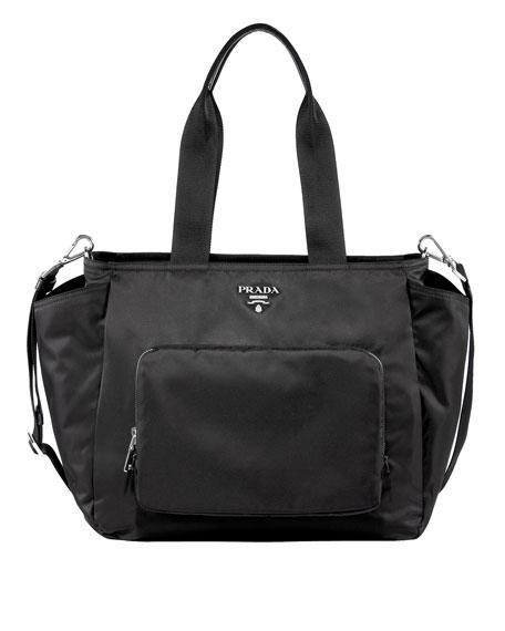 prada leather wallet on a chain - Prada Vela Nylon Tote Bag with Strap, Black (Nero)