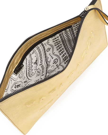 Paparazzi Friendly Alphabet Metallic Clutch Bag, Gold
