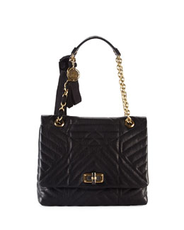 Happy Quilted Leather Medium Shoulder Bag, Black