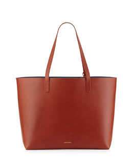 Mansur Gavriel Large Leather Tote Bag with Coated Interior, Brandy/Avion Blue