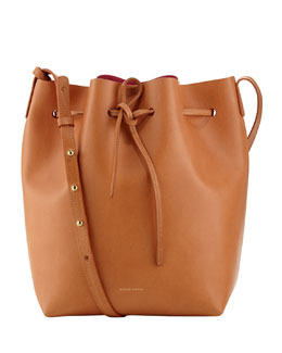 Mansur Gavriel Structured Leather Bucket Bag, Camel/Pink