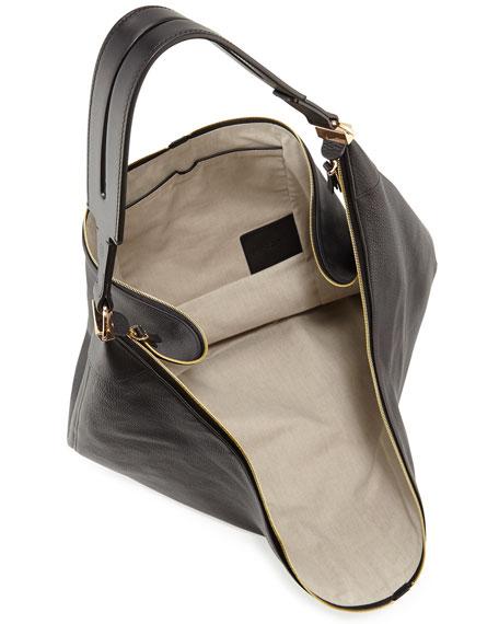 Sling 15 Grained Leather Hobo Bag, Black