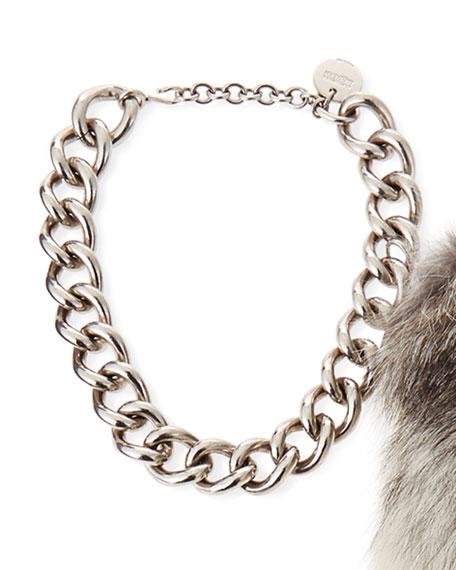 Silvertone Chain Choker Necklace