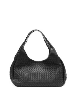 Medium Woven Napa Hobo Bag, Black