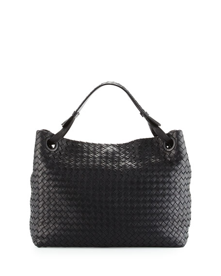 Bottega Veneta Medium Intrecciato Shoulder Bag, Black