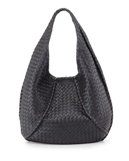 Bottega Veneta Cervo Braided Deer Skin Large Hobo, Gunmetal