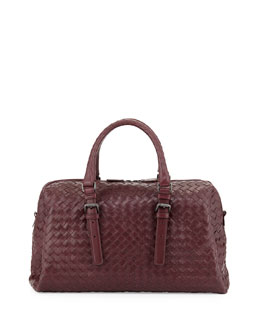 Bottega Veneta New Boston Medium Top-Handle Bag, Dark Purple