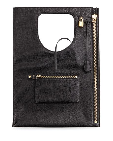 Alix Leather Padlock & Zip Shoulder Bag, Black