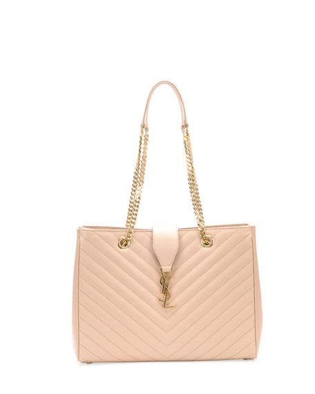 Monogram Matelasse Shopper Bag, Dark Beige