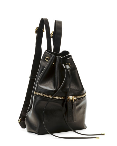 Mini Leather Drawstring Backpack, Dark Gray