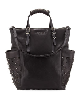 Jimmy Choo Blare Studded Glossy Leather Tote Bag, Black