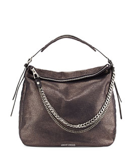 Jimmy Choo Boho Biker Metallic Hobo Bag, Metallic Navy