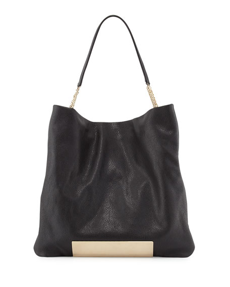 Charlie Leather Tote Bag, Black