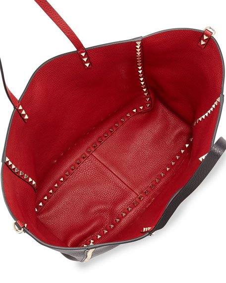 97fd89198 Valentino Rockstud Reversible Tote Bag, Black/Red