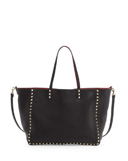 Valentino Rockstud Reversible Tote Bag, Black/Red