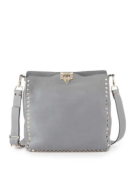 Rockstud Pebbled Leather Messenger Bag, Gray