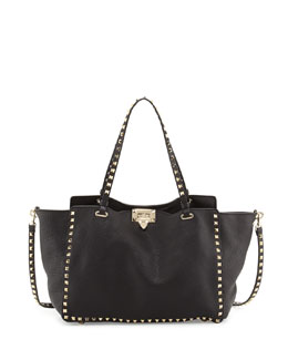 Valentino Rockstud Pebbled Tote Bag, Black