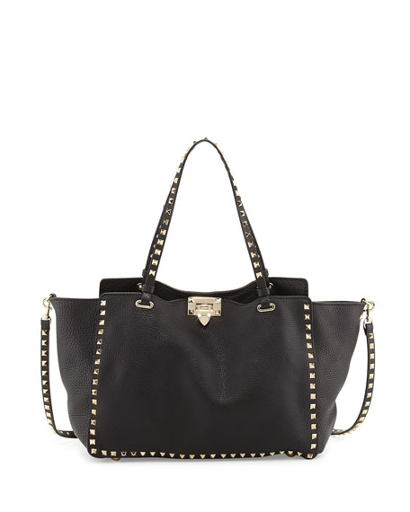 Rockstud Pebbled Tote Bag, Black