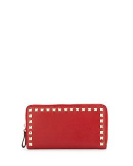 Rockstud Continental Zip Wallet, Red