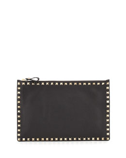 Valentino Rockstud Large Zip Pouch Bag, Black
