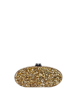 Edie Confetti Acrylic Clutch Bag, Golden