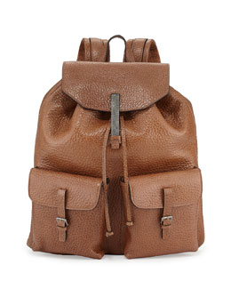 Brunello Cucinelli Distressed Shiny Leather Backpack
