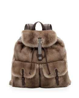 Brunello Cucinelli Mink Fur Backpack, Brown