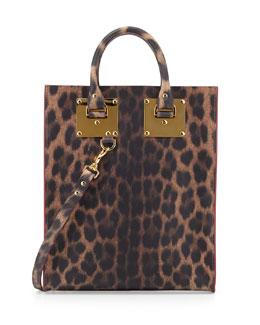 Sophie Hulme Mini Leather Tote Bag, Leopard-Print