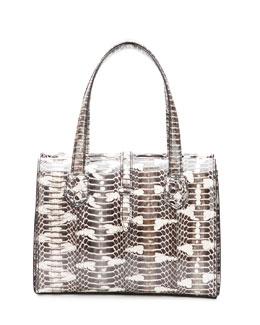Bottega Veneta Snakeskin Belted Tote Bag, White