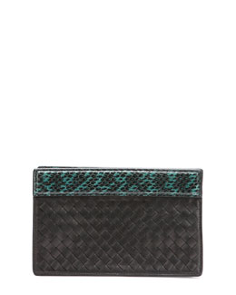 Bottega Veneta Small Intrecciato Clutch Bag, Black/Green