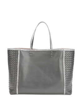 Bottega Veneta Medium Snake & Napa Tote Bag, Charcoal