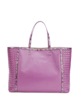 Bottega Veneta Medium Snake & Napa Tote Bag, Purple