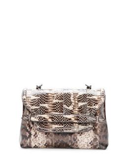 Bottega Veneta Medium Snakeskin Flap Shoulder Bag