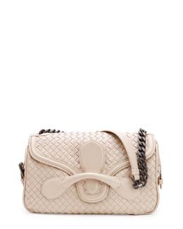 Bottega Veneta Medium Intrecciato Flap Shoulder Bag, Off White