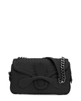 Bottega Veneta Medium Intrecciato Flap Shoulder Bag, Black