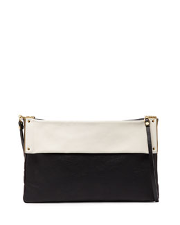 Lanvin Bicolor Leather Shoulder Bag, Black