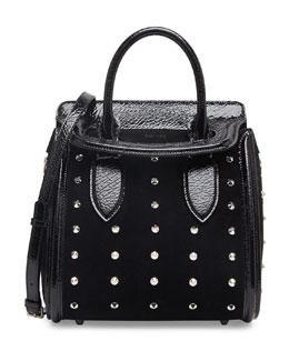 Alexander McQueen Heroine Spiked Satchel Bag with Crossbody Strap, Black