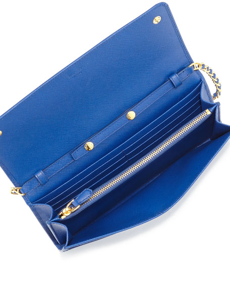 Saffiano Wallet on Chain, Royal Blue (Royal)