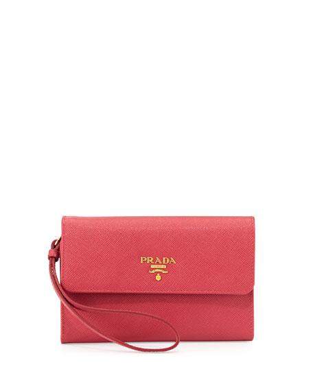 prada mens messenger bags - Prada Saffiano Wristlet Clutch Bag, Pink (Geranio)