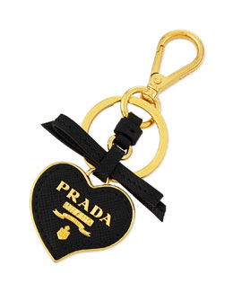 Prada Saffiano Leather Heart Key Chain, Black Nero