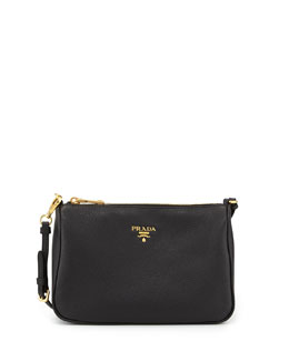 Prada Vitello Small Shoulder Bag, Black (Nero)