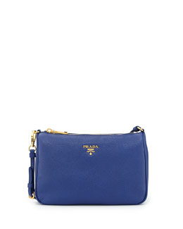 Prada Vitello Small Shoulder Bag, Dark Blue (Inchiostro)