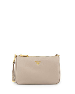 Prada Vitello Small Shoulder Bag, Gray (Pomice)
