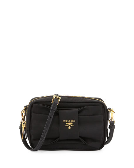 5cb017d754ea Prada Tessuto Small Bow Crossbody Bag, Black (Nero)