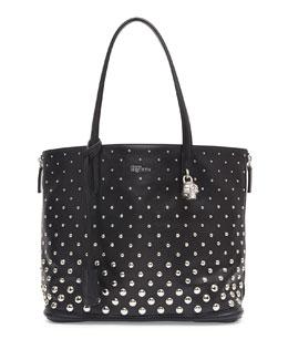 Alexander McQueen Padlock Small Studded Shopper Bag, Black/White